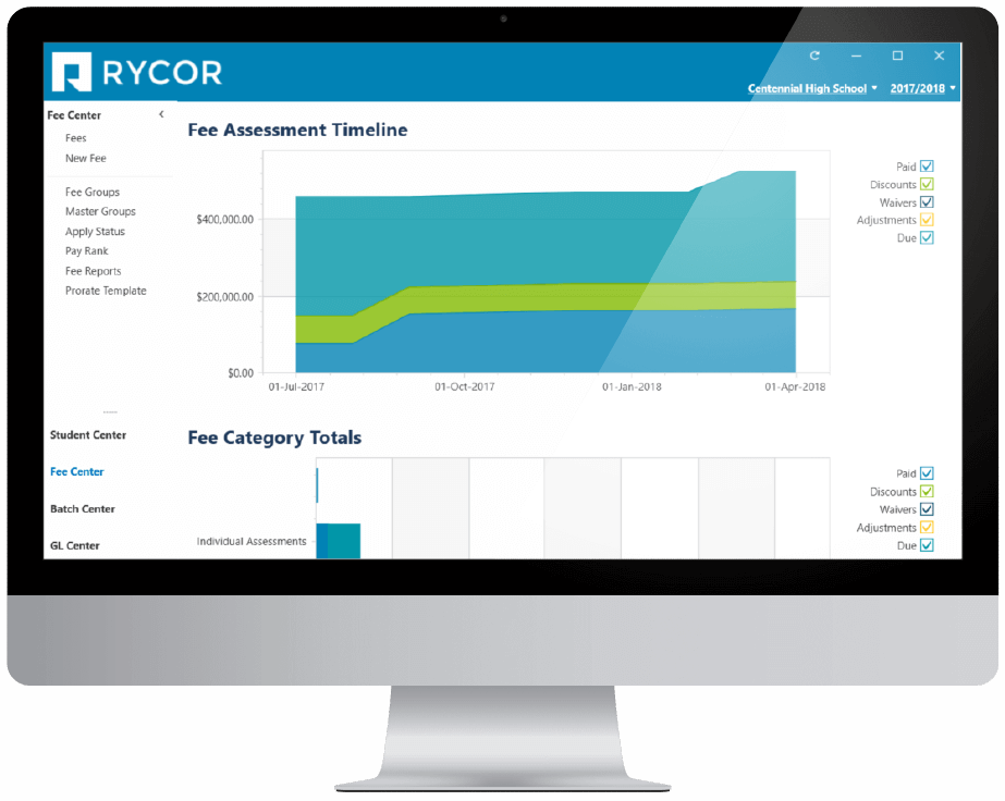 Mockup of computer showing Rycors fee assessment timeline