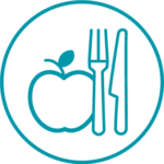 Rycor teal icon of apple and fork and knife in a circle