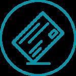 Rycor teal envelope icon in circle